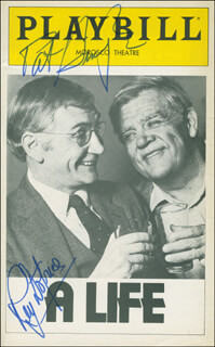 A LIFE PLAY CAST - SHOW BILL SIGNED CO-SIGNED BY: PAT HINGLE, ROY DOTRICE
