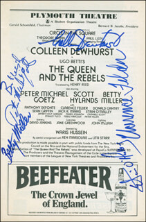THE QUEEN AND THE REBELS BROADWAY CAST - SHOW BILL SIGNED CO-SIGNED BY: COLLEEN DEWHURST, BETTY MILLER, CLARENCE FELDER, PETER MICHAEL GOETZ, ETAIN O'MALLEY