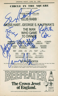 THE MAN WHO CAME TO DINNER PLAY CAST - SHOW BILL SIGNED CO-SIGNED BY: LEONARD FREY, MAUREEN ANDERMAN, ELLIS RABB, RODERICK COOK, PETER COFFIELD, CARRIE NYE