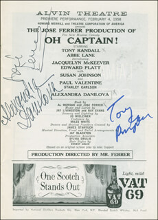OH, CAPTAIN! PLAY CAST - SHOW BILL SIGNED CO-SIGNED BY: ALEXANDRA DANILOVA, JOSE FERRER, TONY RANDALL