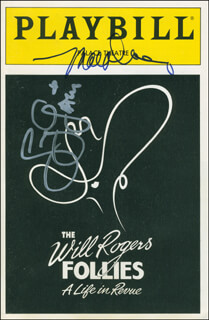 THE WILL ROGERS FOLLIES PLAY CAST - SHOW BILL SIGNED CO-SIGNED BY: THE GATLIN BROTHERS (LARRY GATLIN), MAC DAVIS