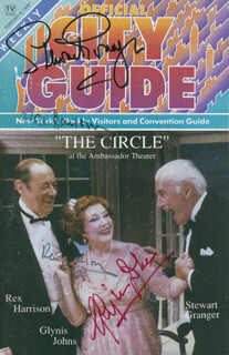 THE CIRCLE PLAY CAST - MAGAZINE SIGNED CO-SIGNED BY: STEWART GRANGER, GLYNIS JOHNS, REX HARRISON