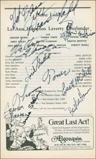 Autographs: A TEXAS TRILOGY PLAY CAST - SHOW BILL SIGNED CO-SIGNED BY: DIANE LADD, BAXTER HARRIS, AVRIL GENTLES, PATRICK HINES, WALTER FLANAGAN, THOMAS TONER, GRAHAM BECKEL, EVERETT McGILL, JAMES STALEY