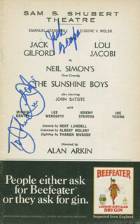 THE SUNSHINE BOYS PLAY CAST - INSCRIBED SHOW BILL SIGNED CO-SIGNED BY: LOU JACOBI, JACK GILFORD