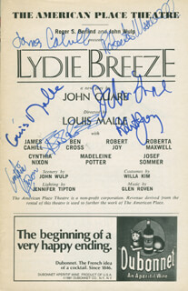 LYDIE BREEZE PLAY CAST - SHOW BILL SIGNED CO-SIGNED BY: BEN CROSS, CYNTHIA NIXON, JAMES CAHILL, ROBERTA MAXWELL, LOUIS MALLE, JOHN GUARE, ROBERT JOY