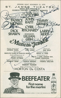 A MUSICAL JUBILEE PLAY CAST - SHOW BILL SIGNED CO-SIGNED BY: LARRY KERT, TAMMY GRIMES, DICK RICKY SHAWN, PATRICE MUNSEL, CYRIL RITCHARD, LILLIAN GISH, JOHN RAITT