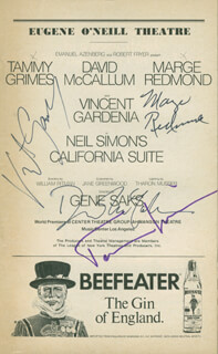 CALIFORNIA SUITE PLAY CAST - SHOW BILL SIGNED CO-SIGNED BY: TAMMY GRIMES, DAVID McCALLUM, VINCENT GARDENIA, MARGE REDMOND