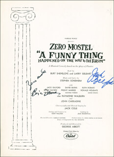 Autographs: A FUNNY THING HAPPENED ON THE WAY TO THE FORUM PLAY CAST - PROGRAM SIGNED CO-SIGNED BY: JACK GILFORD, ZERO MOSTEL, BRIAN DAVIES