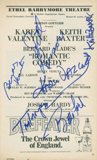ROMANTIC COMEDY PLAY CAST - SHOW BILL SIGNED CO-SIGNED BY: KAREN VALENTINE, KEITH BAXTER, BENAY VENUTA, BETTE FORD, JILL LARSON, TOM TROUPE