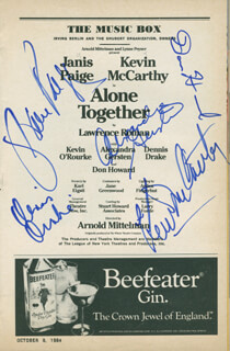 ALONE TOGETHER PLAY CAST - SHOW BILL SIGNED CO-SIGNED BY: KEVIN McCARTHY, JANIS PAIGE, ALEXANDRA GERSTEN, DON HOWARD, DENNIS DRAKE