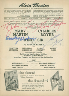 KIND SIR PLAY CAST - INSCRIBED SHOW BILL SIGNED CO-SIGNED BY: DOROTHY STICKNEY, JOSHUA LOGAN, MARY MARTIN