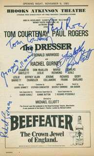 THE DRESSER PLAY CAST - SHOW BILL SIGNED CO-SIGNED BY: TOM COURTENAY, RACHEL GURNEY, PAUL ROGERS, LISABETH BARTLETT, JEROME COLLAMORE