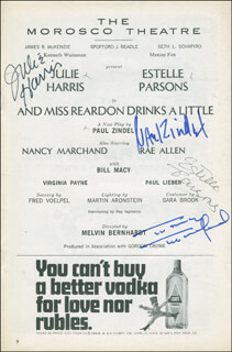 Autographs: AND MISS REARDON DRINKS A LITTLE PLAY CAST - SHOW BILL SIGNED CO-SIGNED BY: PAUL ZINDEL, NANCY MARCHAND, ESTELLE PARSONS, JULIE HARRIS