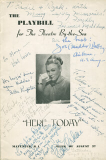 HERE TODAY PLAY CAST - INSCRIBED SHOW BILL SIGNED CO-SIGNED BY: EVE ARDEN, FRANCES MADDUX, BERT THORN, CHARLES BANG, DOROTHY DOTTIE KINGSTON