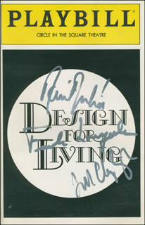 DESIGN FOR LIVING PLAY CAST - SHOW BILL SIGNED CO-SIGNED BY: RAUL JULIA, FRANK LANGELLA, JILL CLAYBURGH
