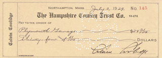 PRESIDENT CALVIN COOLIDGE - AUTOGRAPHED SIGNED CHECK 07/03/1929