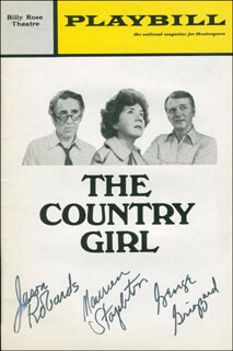 Autographs: THE COUNTRY GIRL PLAY CAST - SHOW BILL SIGNED CO-SIGNED BY: GEORGE GRIZZARD, JASON ROBARDS JR., MAUREEN STAPLETON