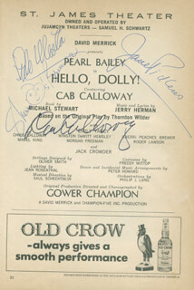 Autographs: HELLO, DOLLY! PLAY CAST - SHOW BILL SIGNED CO-SIGNED BY: THE PICKENS SISTERS (JANE PICKENS), CAB CALLOWAY, SHERRI PEACHES BREWER