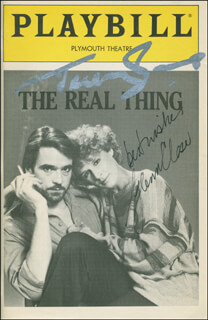 THE REAL THING PLAY CAST - SHOW BILL SIGNED CO-SIGNED BY: GLENN CLOSE, JEREMY IRONS