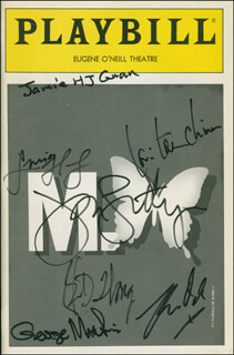 M. BUTTERFLY PLAY CAST - SHOW BILL SIGNED CO-SIGNED BY: JOHN LITHGOW, LINDSAY FROST, B. D. WONG, GEORGE N. MARTIN, LORI TAN CHINN, CHRIS ODO, JAMES H.J. GUAN