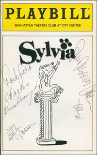 Autographs: SYLVIA PLAY CAST - SHOW BILL SIGNED CO-SIGNED BY: BLYTHE DANNER, CHARLES KIMBROUGH, SARAH JESSICA PARKER, DEREK DAVID SMITH
