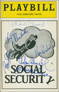 Autographs: SOCIAL SECURITY BROADWAY CAST - SHOW BILL SIGNED CO-SIGNED BY: OLYMPIA DUKAKIS, STEFAN SCHNABEL, MARLO THOMAS, RON SILVER, JOANNA GLEASON, KENNETH WELSH