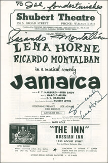 Autographs: JAMAICA BROADWAY CAST - INSCRIBED SHOW BILL SIGNED CO-SIGNED BY: LENA HORNE, RICARDO MONTALBAN