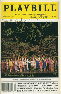 JEROME ROBBINS' BROADWAY PLAY CAST - SHOW BILL SIGNED CO-SIGNED BY: JULE STYNE, SHELDON M. HARNICK, SAMMY CAHN, ADOLPH GREEN, JASON ALEXANDER, FAITH PRINCE, DEBBIE SHAPIRO, CHARLOTTE D'AMBOISE, NANCY HESS, MICHAEL KUBALA, JANE LANIER, JOEY MCKNEELY