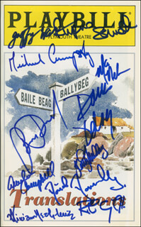 TRANSLATIONS PLAY CAST - SHOW BILL SIGNED CO-SIGNED BY: BRIAN DENNEHY, DANA DELANY, MICHAEL CUMPSTY, ROB CAMPBELL, MIRIAM HEALY-LOUIE, GEOFFREY WADE, KERRY O'MALLEY, MARI NELSON
