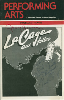 LA CAGE AUX FOLLES PLAY CAST - SHOW BILL SIGNED 09/12/1984 CO-SIGNED BY: GENE BARRY, JERRY HERMAN