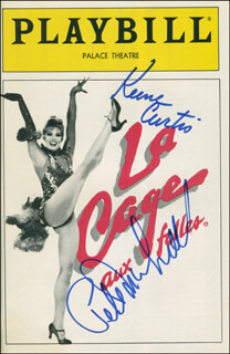 Autographs: LA CAGE AUX FOLLES PLAY CAST - SHOW BILL SIGNED CO-SIGNED BY: PETER MARSHALL, KEENE CURTIS