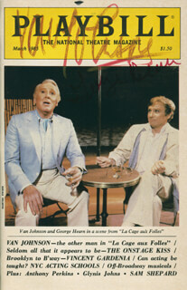 Autographs: LA CAGE AUX FOLLES PLAY CAST - SHOW BILL SIGNED CO-SIGNED BY: GEORGE C. HEARN, VAN JOHNSON
