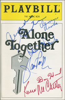 Autographs: ALONE TOGETHER PLAY CAST - SHOW BILL SIGNED CO-SIGNED BY: KEVIN McCARTHY, JANIS PAIGE, ALEXANDRA GERSTEN, DON HOWARD, DENNIS DRAKE, KEVIN O'ROURKE