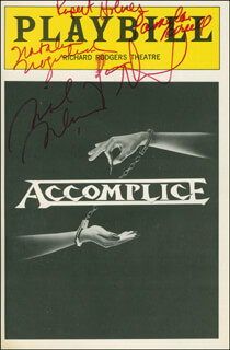 Autographs: ACCOMPLICE PLAY CAST - SHOW BILL SIGNED CO-SIGNED BY: MICHAEL McKEAN, JASON ALEXANDER, NATALIJA NOGULICH, PAMELA BRULL, RUPERT HOLMES