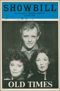 Autographs: OLD TIMES PLAY CAST - SHOW BILL SIGNED CO-SIGNED BY: ANTHONY HOPKINS, MARSHA MASON, JANE ALEXANDER