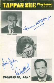 PROMENADE, ALL! PLAY CAST - SHOW BILL SIGNED CO-SIGNED BY: HUME CRONYN, ANNE JACKSON, ELI WALLACH