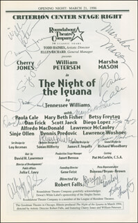 Autographs: THE NIGHT OF THE IGUANA PLAY CAST - SHOW BILL SIGNED CO-SIGNED BY: MARSHA MASON, CHERRY JONES, WILLIAM PETERSEN, PAULA CALE, MARY BETH FISHER, BETSY FREYTAG, DAN FRICK, SCOTT JAECK, DIEGO LOPEZ, ALFREDO MacDONALD, LAWRENCE McCAULEY, SINJE OLLEN, DENNIS PREDOVIC, LAWRENCE WOSHNER