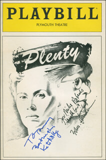PLENTY PLAY CAST - INSCRIBED SHOW BILL SIGNED CO-SIGNED BY: KATE NELLIGAN, EDWARD HERRMANN