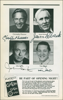 Autographs: NO MAN'S LAND PLAY CAST - SHOW BILL SIGNED CO-SIGNED BY: JASON ROBARDS JR., CHRISTOPHER PLUMMER, JOHN SEITZ, TOM WOOD