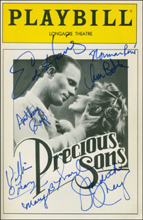 PRECIOUS SONS PLAY CAST - SHOW BILL SIGNED CO-SIGNED BY: JUDITH IVEY, ANTHONY RAPP, ED HARRIS, WILLIAM O'LEARY, ANNE MARIE BOBBY, NORMAN RENE, MARTY BELL