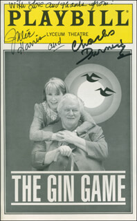 THE GIN GAME PLAY CAST - SHOW BILL SIGNED CO-SIGNED BY: CHARLES DURNING, JULIE HARRIS