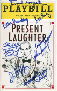 PRESENT LAUGHTER PLAY CAST - SHOW BILL SIGNED CO-SIGNED BY: FRANK LANGELLA, ALLISON JANNEY, LISA EMERY, JEFF WEISS, KELLIE OVERBEY, MALGORZATA (MARGARET SOPHIE STEIN) ZAJACZKOWSKA, TIM HOPPER, DAVID CALE, CAROLINE SEYMOUR