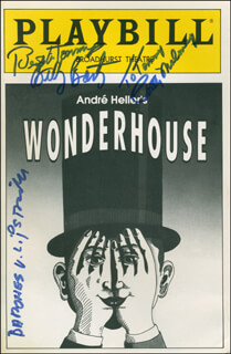 Autographs: WONDERHOUSE PLAY CAST - INSCRIBED SHOW BILL SIGNED CO-SIGNED BY: BILLY BARTY, PATTY MALONEY, JEANETTE BARONESS LIPS VON LIPSTRILL SCHMID