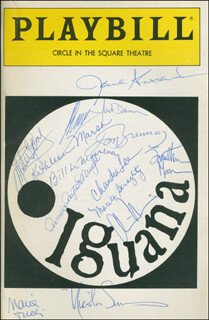Autographs: THE NIGHT OF THE IGUANA PLAY CAST - SHOW BILL SIGNED CO-SIGNED BY: JANE ALEXANDER, PAMELA PAYTON-WRIGHT, NICOLAS SUROVY, MARIA TUCCI, TOM BRENNAN, MARITA GERAGHTY, WILLIAM LeMASSENA, MARK DAMON, MATEO GOMEZ, PETER LANG, CHANDRA LEE, JONATHAN MANN, KATHLEEN MARSH, CHRISTOPHER MARTIN