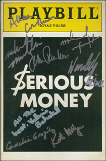 SERIOUS MONEY PLAY CAST - SHOW BILL SIGNED CO-SIGNED BY: KATE NELLIGAN, ALLAN CORDUNER, CORDELIA GONZALEZ, MELINDA MULLINS, WENDELL PIERCE, MICHAEL WINCOTT, VALERIE BAHAKEL