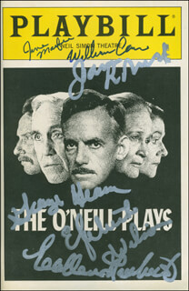 Autographs: THE O'NIELL PLAYS PLAY CAST - SHOW BILL SIGNED CO-SIGNED BY: GEORGE C. HEARN, COLLEEN DEWHURST, JASON ROBARDS JR., ELIZABETH WILSON, JANE MACFIE, WILLIAM BILL CAIN