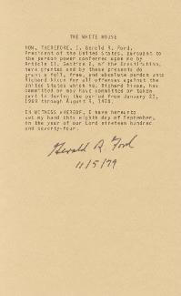 Autographs: PRESIDENT GERALD R. FORD - TYPESCRIPT SIGNED 11/05/1979