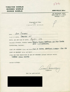 ANN CONVERY - AUTOGRAPH RESUME SIGNED
