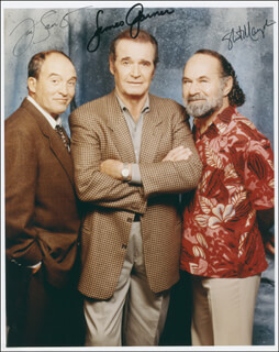 THE ROCKFORD FILES TV CAST - AUTOGRAPHED SIGNED PHOTOGRAPH CO-SIGNED BY: STUART MARGOLIN, JAMES GARNER, JOE SANTOS