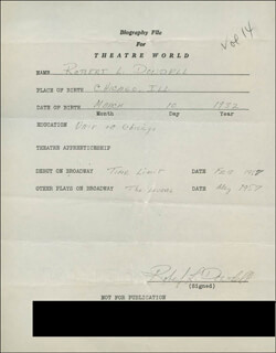 ROBERT L. DOWDELL - AUTOGRAPH RESUME SIGNED